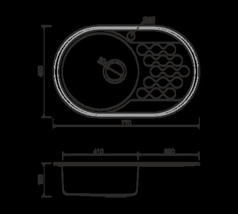 Кухонная мойка из нержавеющей стали OMOIKIRI Kasumigaura 77-1-AB-L (4993070)