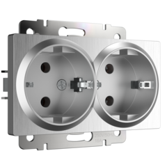 Розетка двойная с заземлением (серебряный рифленый) WL09-SKG-02-IP20 Werkel