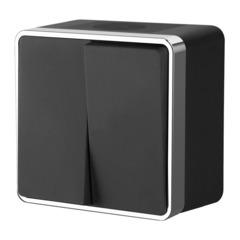 Выключатель двухклавишный влагозащищенный Gallant (черный/хром) WL15-03-02 Werkel