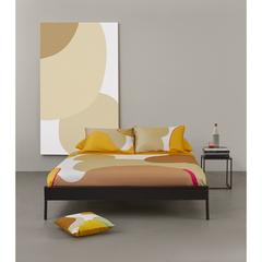 Подушка декоративная из хлопка горчичного цвета с авторским принтом из коллекции Freak Fruit, 45х45 см Tkano TK20-CU0002