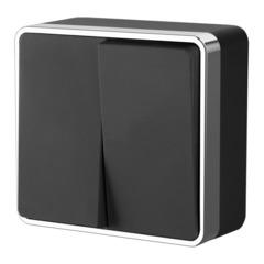 Выключатель двухклавишный Gallant (черный/хром) WL15-03-01 Werkel