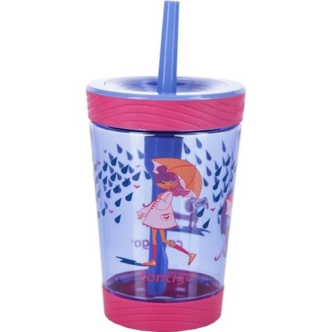 Детский стакан для воды с трубочкой Contigo Spill Proof Tumbler (0.42 литра), розовый