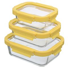 Набор Smart Solutions из 3 прямоугольных контейнеров для еды желтый ID301RC_127C