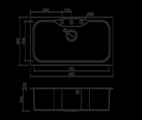 Кухонная мойка из искусственного гранита (Tetogranit) OMOIKIRI Maru 86-СH (4993242)